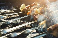 Het festival van het straat snelle voedsel, rundvlees en kippenkebab bij grill stock afbeelding