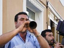 Het Festival Zurna van de Hidrellezlente het is begeleide bastrommel Stock Afbeelding