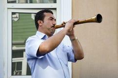 Het Festival Zurna van de Hidrellezlente het is begeleide bastrommel Stock Foto