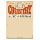 Het festivalachtergrond van de affichemuziek met cowboyhoed Geïsoleerde vector stock illustratie