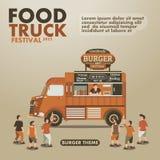 Het festivalaffiche van de voedselvrachtwagen met gastronomisch, Hamburgerthema Stock Afbeelding