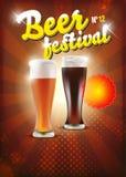 Het festivalaffiche van het bier - achtergrond Stock Afbeeldingen