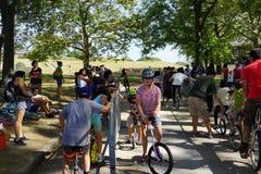 2015 het Festivaldeel 2 3 van NYC Unicycle Royalty-vrije Stock Afbeeldingen