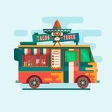 Het festivalmenu van de voedselvrachtwagen Illustratie van het de Voertuigen de vlakke vectorconcept van het straatvoedsel Stock Foto's