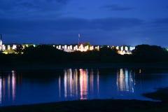 Het Festivalvlaggen van het Eiland Wight bij Nacht Stock Fotografie