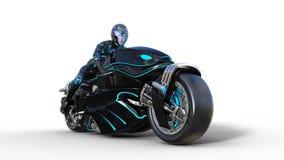Het fietsermeisje met helm die een sc.i-FI fiets, zwarte futuristische motorfiets berijden die op witte 3D achtergrond wordt geïs vector illustratie