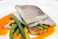 Het fijne dineren, John Dory-visfilet Stock Afbeeldingen