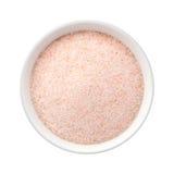 Het fijne Roze Zout van Himalayan in een Ceramische Kom Stock Afbeelding