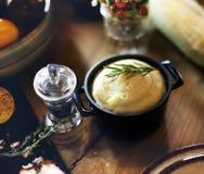Het fijngestampte Concept van Aardappelrosemary pepper thanksgiving table setting royalty-vrije stock afbeelding