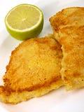 Het Filethaakwerk van vissen met citroen stock fotografie