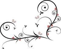 Het filigraanontwerp van de hartvorm accessorized met bladeren, spiralen, rode bloemen en vlinders stock illustratie