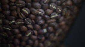 Het filteren van Schot van Koffiebonen stock videobeelden