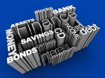 Het financiële 3D Blauw van Woorden Stock Afbeelding