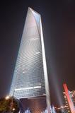 Het Financiële Centrum van de Wereld van Shanghai bij nacht Stock Foto's