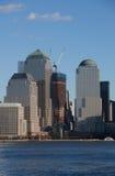 Het Financiële District van Manhattan bij zonsondergang van Jersey Royalty-vrije Stock Afbeelding