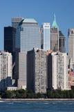 Het Financiële District van Manhattan bij zonsondergang van Jersey Stock Afbeeldingen