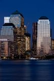 Het Financiële District van Manhattan bij zonsondergang van Jersey Stock Fotografie