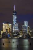 Het Financiële District van Manhattan en Hudson River Stock Foto