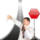Het financiële faillissement leidt tot hindernissen in zaken stock afbeelding