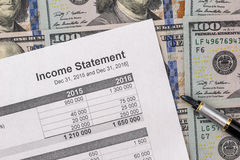 Het financiële verslag van de inkomensverklaring met ons dollar, Stock Fotografie