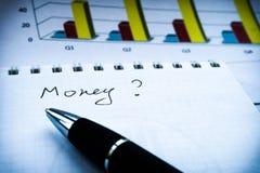Het financiële verslag van de inkomensverklaring met pen Analyse - businessplan met grafiek stock afbeelding
