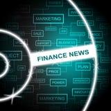 Het financiënnieuws vertegenwoordigt Woordenkrantekoppen en Financiën Royalty-vrije Stock Afbeeldingen
