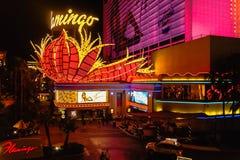Het Flamingo 's nachts casino stock afbeeldingen