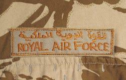 Het Flard van Royal Air Force op het Jasje van de Camouflage van de Woestijn Royalty-vrije Stock Fotografie