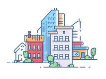 Het flatgebouw van de stadskleur royalty-vrije illustratie