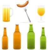 Het flessenglas van het bier en worst vectorillustratie Stock Afbeeldingen