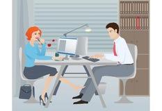 Het flirten in het bureau Royalty-vrije Stock Fotografie