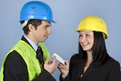 Het flirten op het werk: Oproepen me! Royalty-vrije Stock Foto's