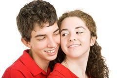 Het Flirten van het Paar van de tiener Stock Foto's