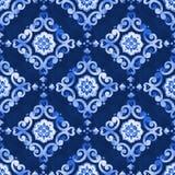 Het fluweel naadloos patroon van waterverfkoningsblauwen Royalty-vrije Stock Afbeelding