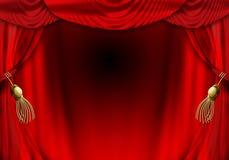Het fluweelgordijnen van het theater Stock Fotografie