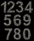 Het fonkelen aantalreeks van glanzende sterren die, wordt gemaakt van  Stock Afbeeldingen