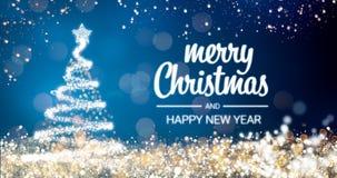 Het fonkelen gouden en zilveren de boom Vrolijke Kerstmis van lichtenkerstmis en het Gelukkige bericht van de Nieuwjaargroet op b Royalty-vrije Stock Foto