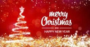 Het fonkelen gouden en zilveren de boom Vrolijke Kerstmis van lichtenkerstmis en het Gelukkige bericht van de Nieuwjaargroet op r Royalty-vrije Stock Afbeeldingen
