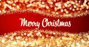 Het fonkelen gouden en zilveren Kerstmislichten met het Vrolijke bericht van de Kerstmisgroet op rode achtergrond, sneeuw, verstr Royalty-vrije Stock Afbeelding