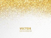 Het fonkelen schittert grens, kader Dalend gouden die stof op transparante achtergrond wordt geïsoleerd Vectordecoratie royalty-vrije illustratie