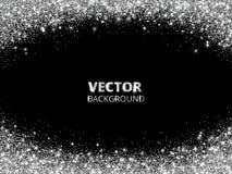 Het fonkelen schittert grens, kader Dalend zilveren stof op zwarte achtergrond Vector schitterende decoratie vector illustratie