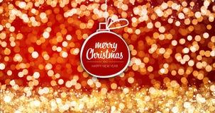 Het fonkelen sieren de gouden en zilveren Kerstmislichten met Vrolijke Kerstmis en Gelukkige het berichtbal van de Nieuwjaargroet Stock Fotografie