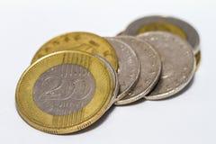 Het forintteken: Voet; code: HUF is de munt van Hongarije Muntstukken op geïsoleerde witte achtergrond royalty-vrije stock foto
