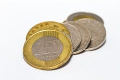 Het forintteken: Voet; code: HUF is de munt van Hongarije Muntstukken op geïsoleerde witte achtergrond stock afbeeldingen