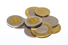 Het forintteken: Voet; code: HUF is de munt van Hongarije Muntstukken op geïsoleerde witte achtergrond stock fotografie