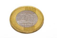 Het forintteken: Voet; code: HUF is de munt van Hongarije Muntstukken op geïsoleerde witte achtergrond stock foto