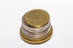 Het forintteken: Voet; code: HUF is de munt van Hongarije Muntstukken op geïsoleerde witte achtergrond royalty-vrije stock afbeelding