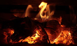 Het Fornuis van Woodburning Stock Foto's