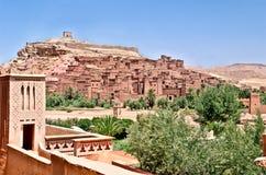Het fort van AIT Benhaddou in de Marokkaanse woestijn stock foto