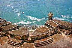 Het Fort van Gr Morro op Oceaan in Puerto Rico stock foto